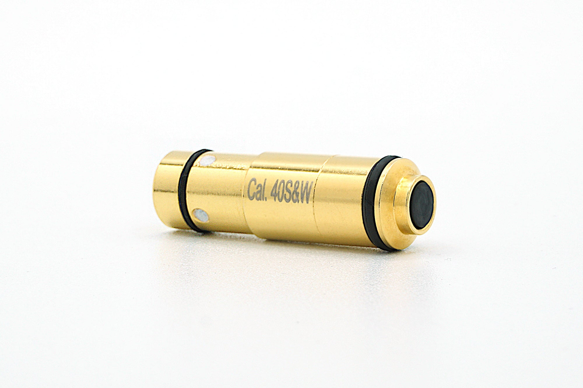 .40 S&W Laser ammunition cartridge for dry fire training. Powerful 5mw 635nm red laser is snap cap switch activated.