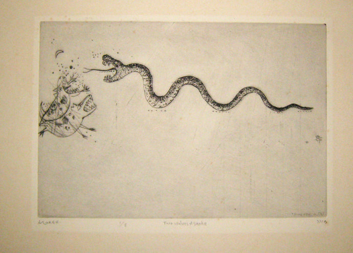 Two wolves and snake (Deux loups et serpent).