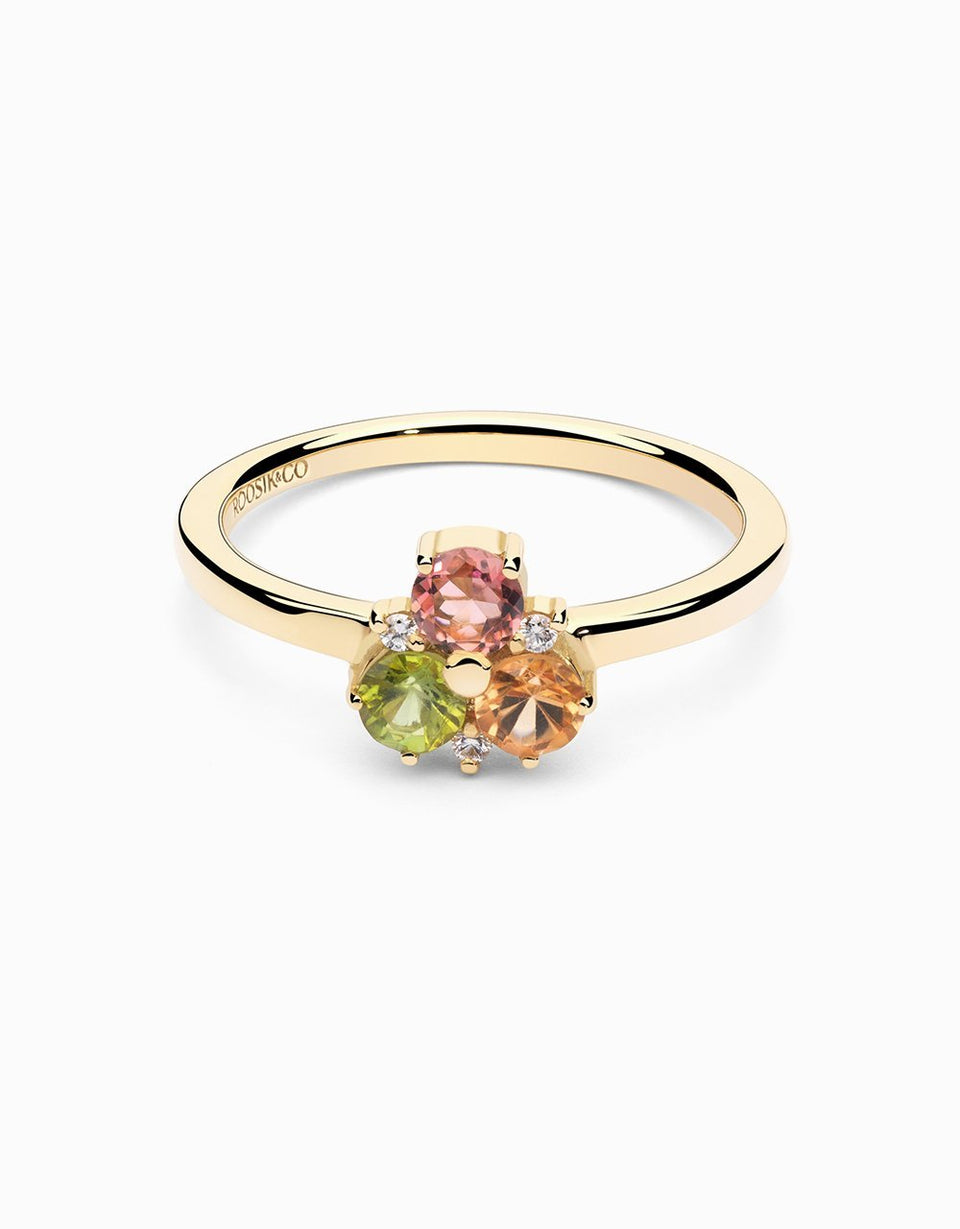 Gold ring with tourmalines and diamonds