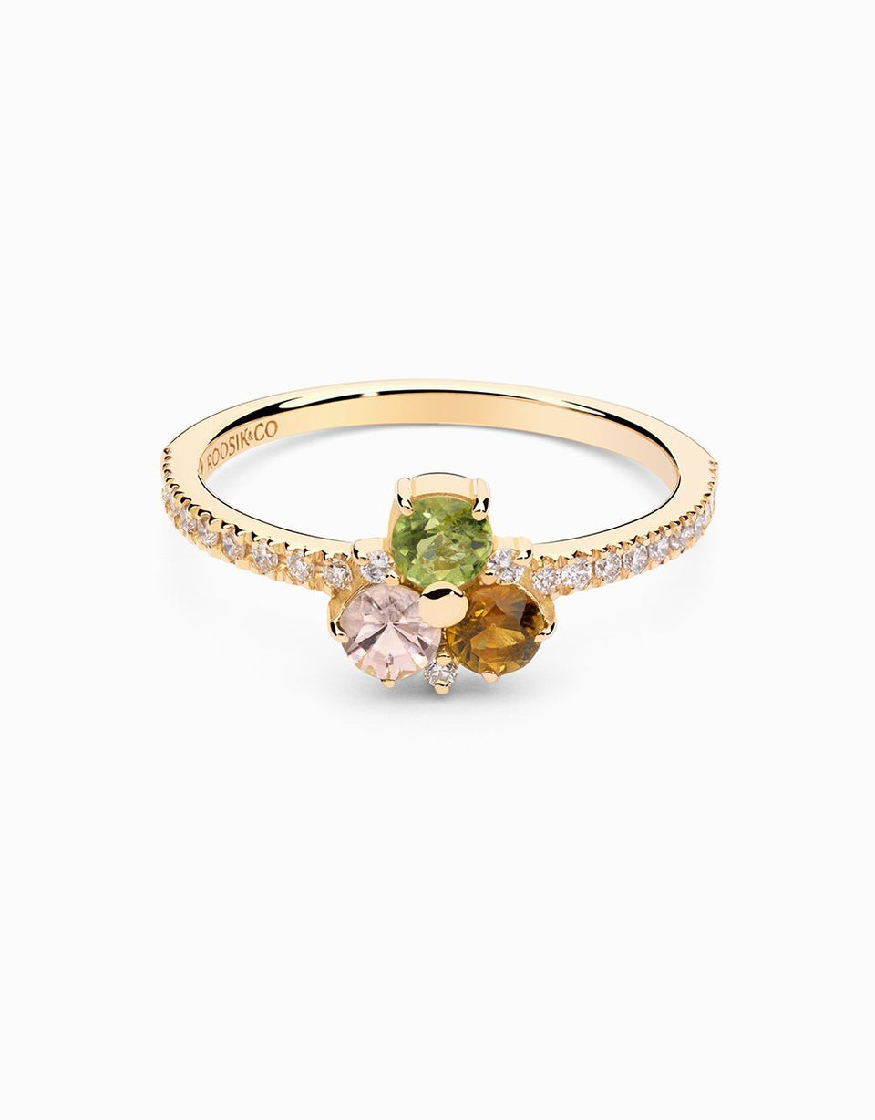 Diamond ring in gold with tourmalines