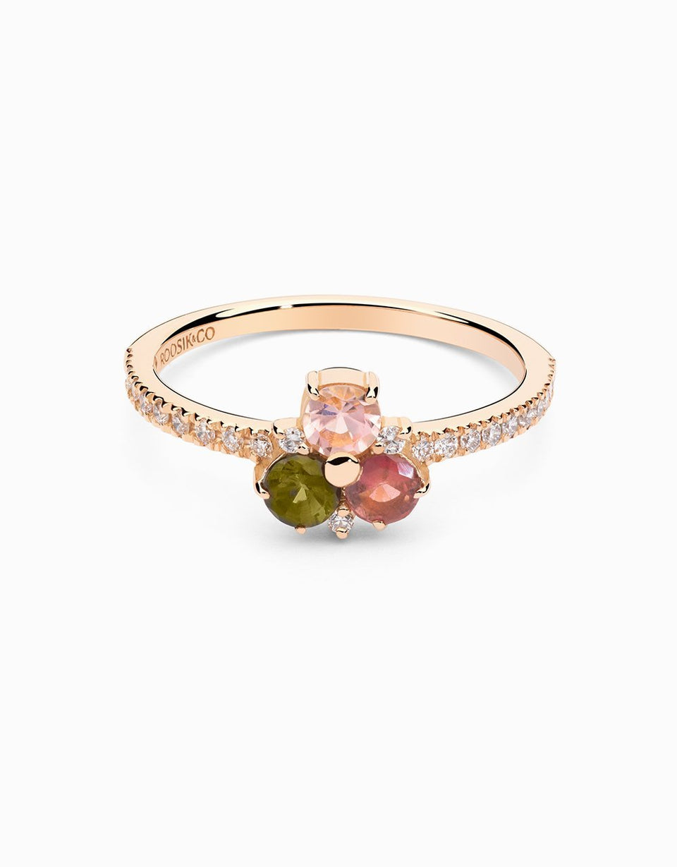 Diamond ring in rose gold  with tourmalines