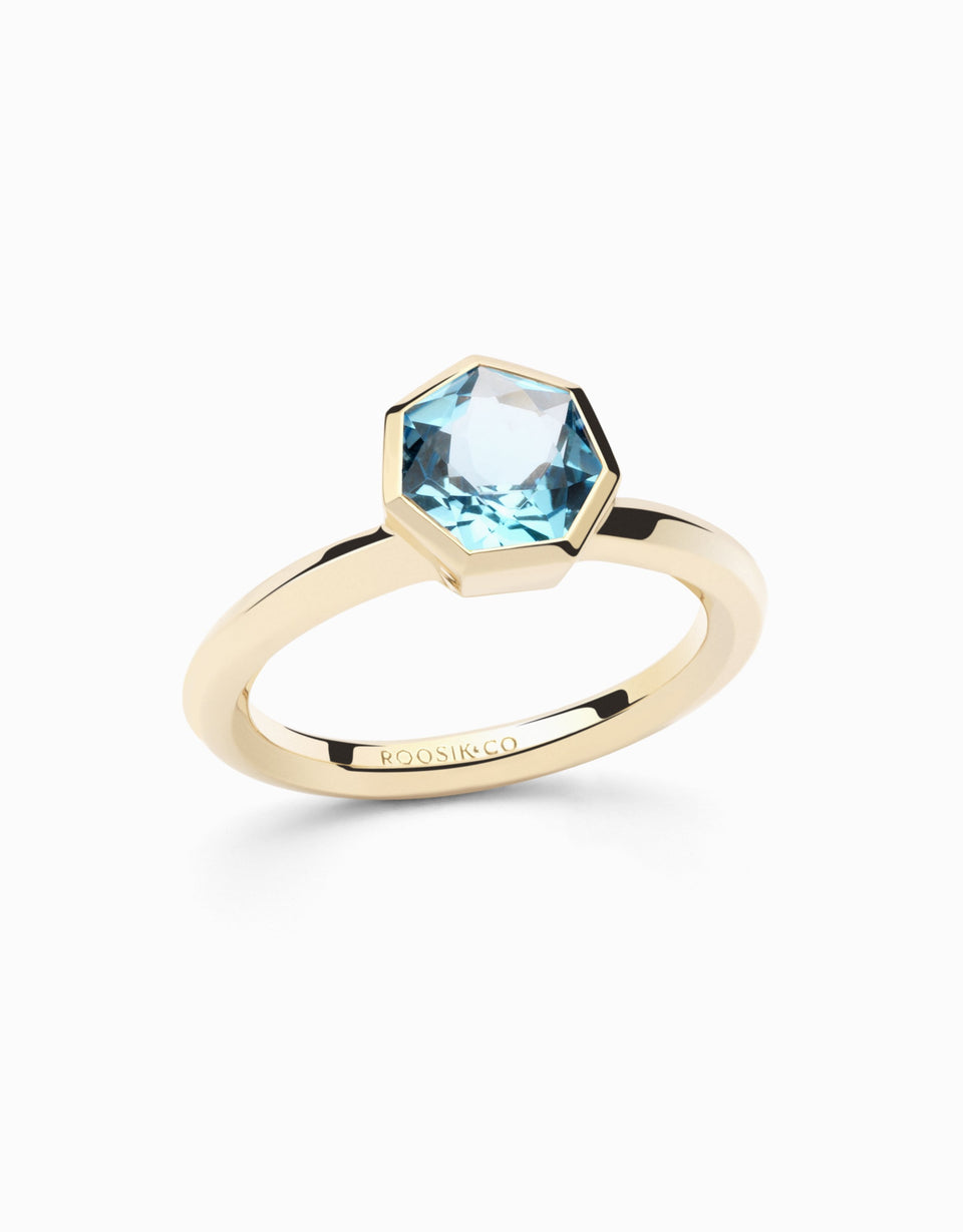 Gold ring with heptagonal blue topaz 1