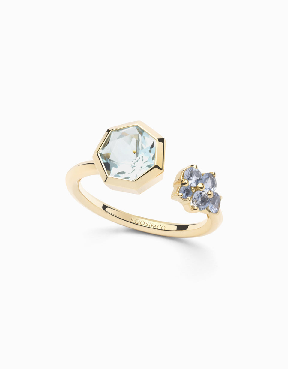 Gold ring with sapphires and heptagonal topaz 1