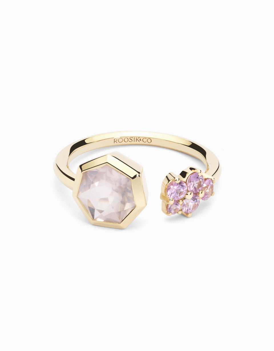 Gold ring with sapphires and rose quartz