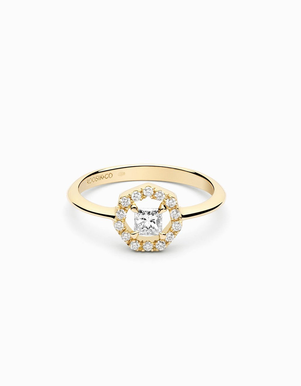 Diamond ring in yellow gold handmade and hancrafted