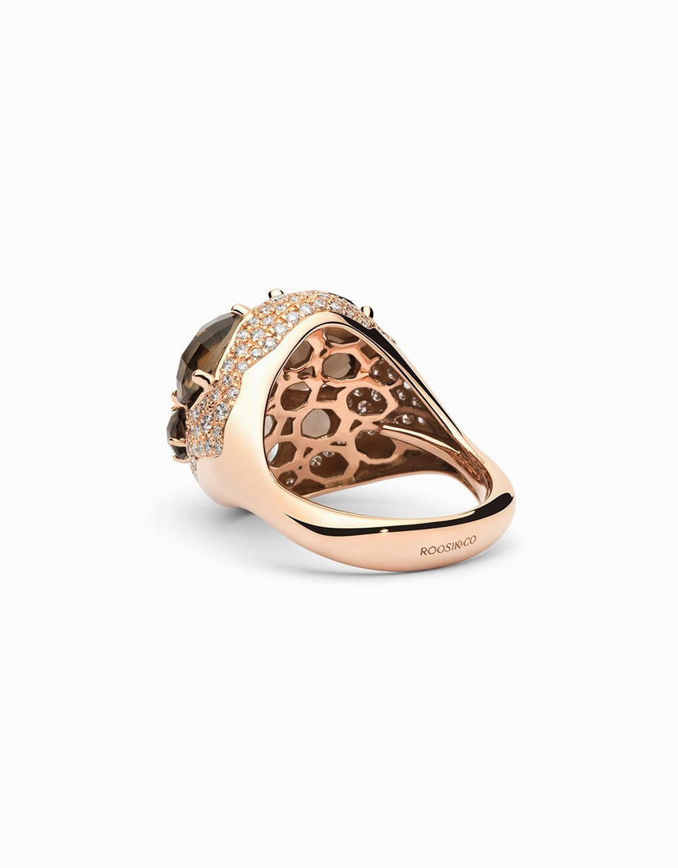 Smoky quartz and diamond rose gold ring, high jewelry, designed by Jordi Rosich in Girona_Barcelona jewelry workshop