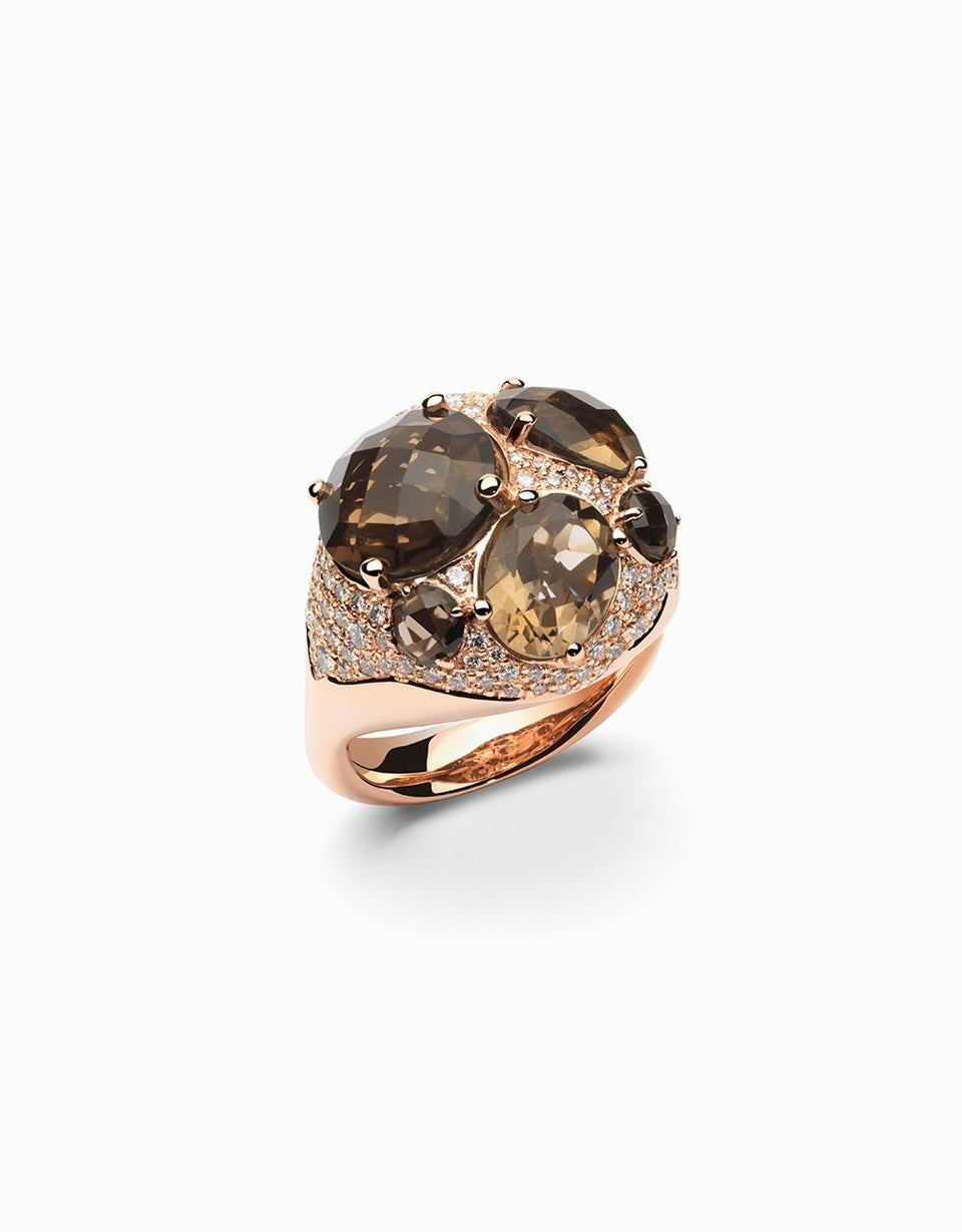 Smoky Quartz and Diamonds in rose gold, jewelry designs of Jordi Rosich in Girona