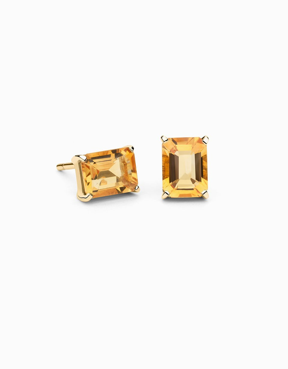 Square Earrings · Citrine