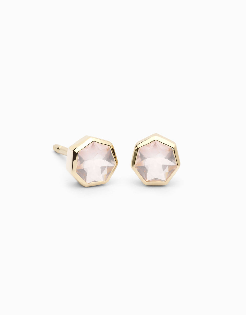 Gold earrings with heptagonal rose quartz