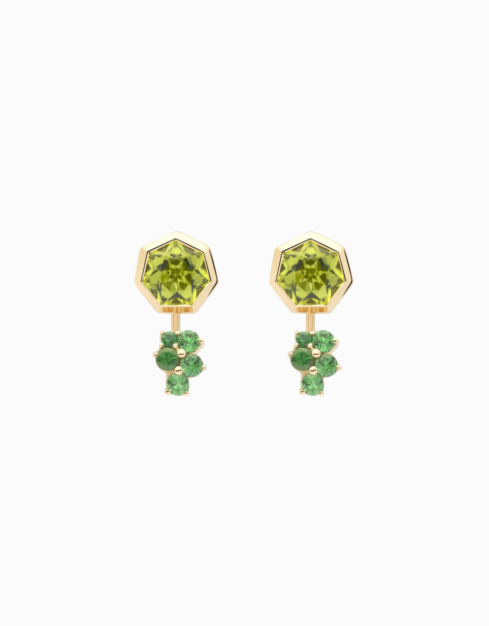 Gold earrings with green stones and double position