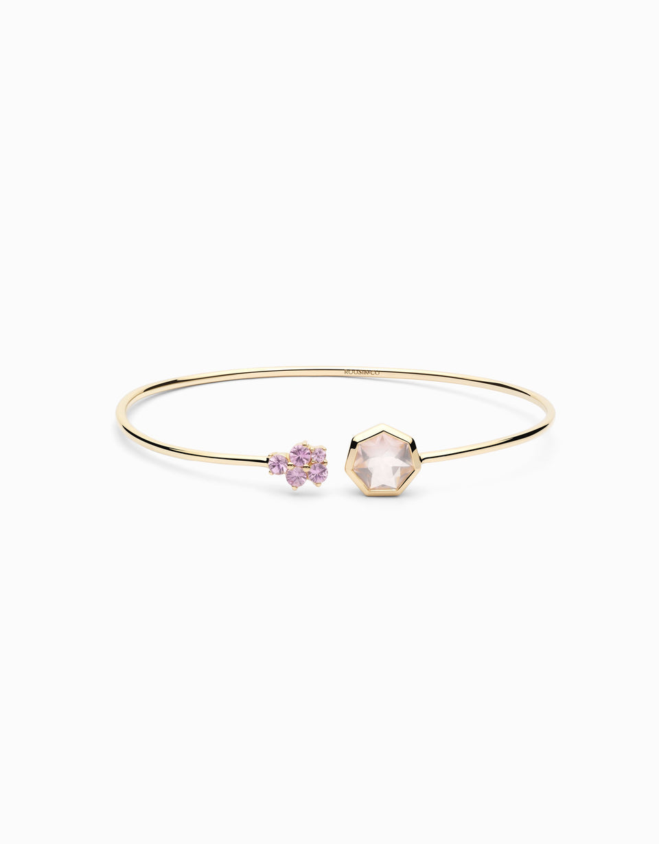 Gold bangle with sapphire and rose quartz