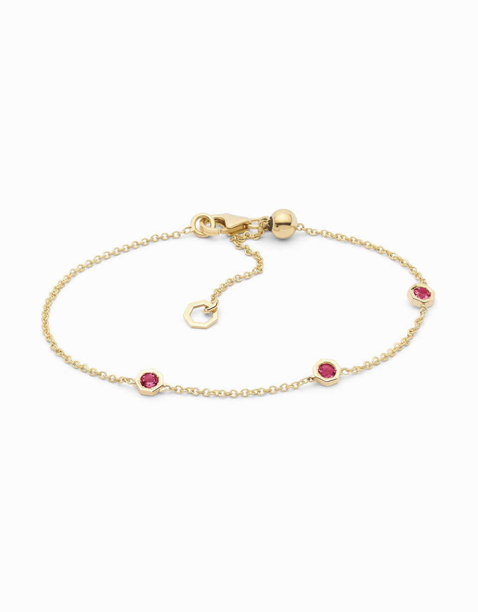 handmade bracelet in yellow gold and ruby
