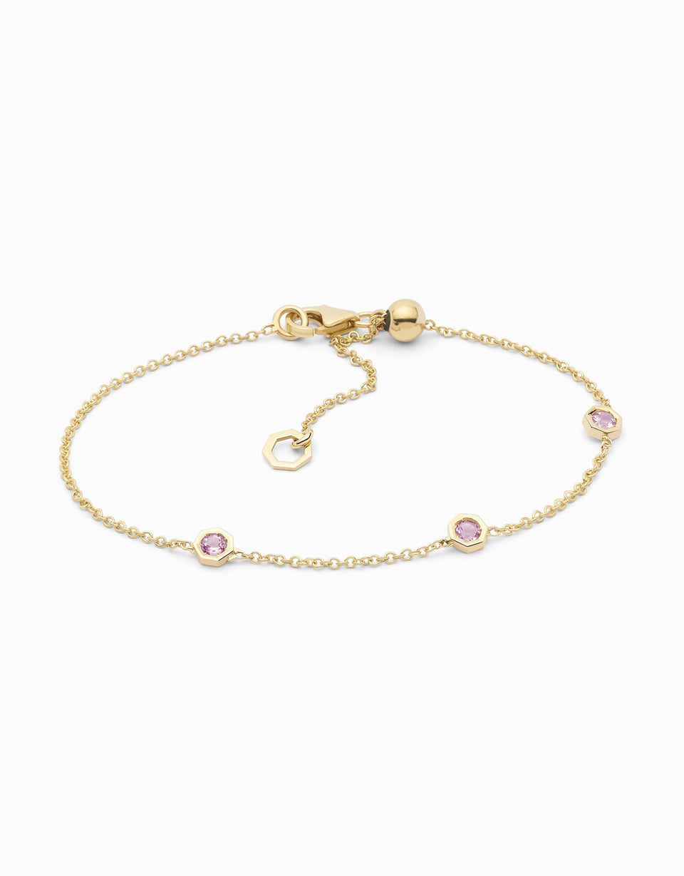 Handmade bracelet in yellow gold and 3 pink sapphires gemstones