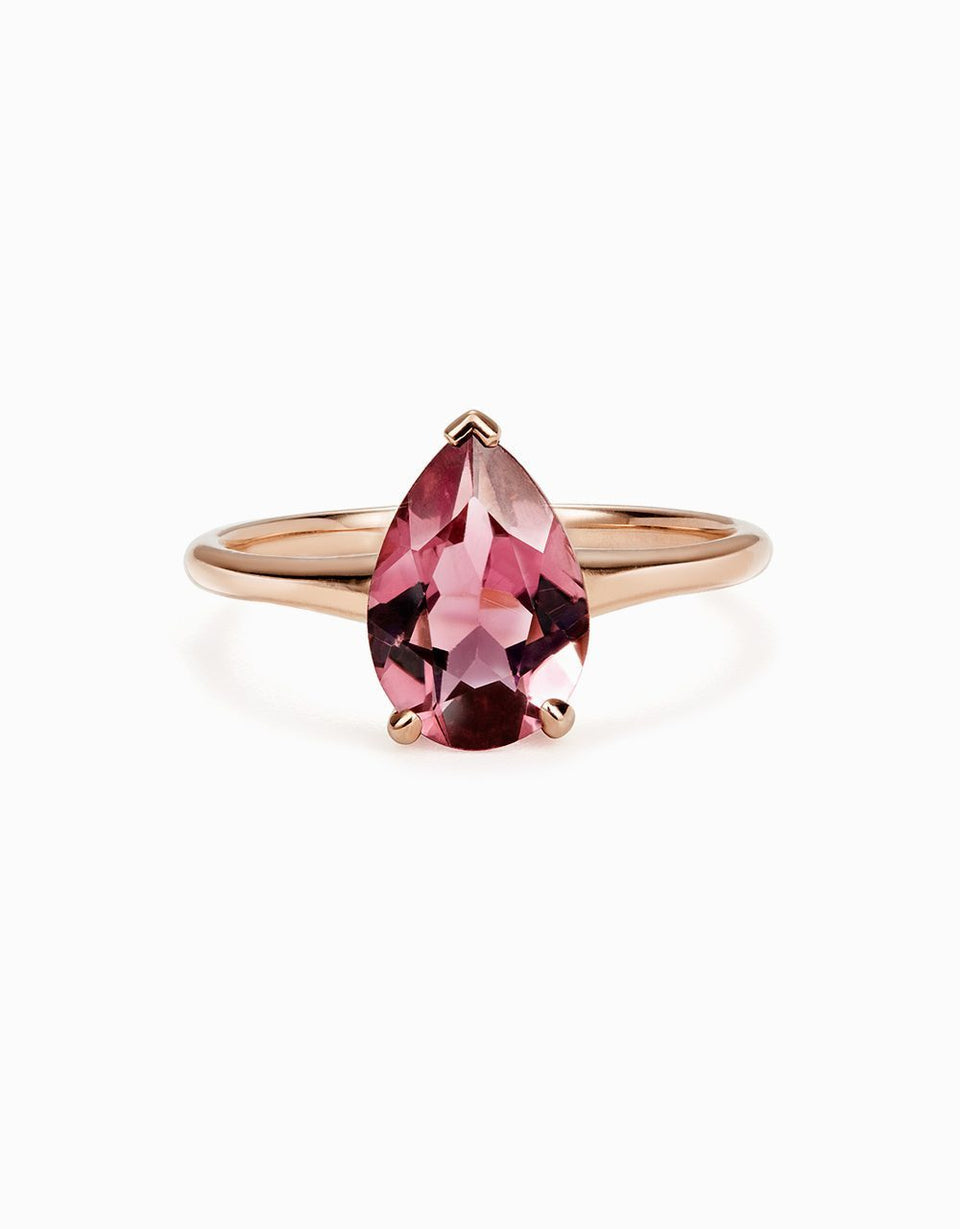 Dame Ring in rose gold and rose natural tourmaline