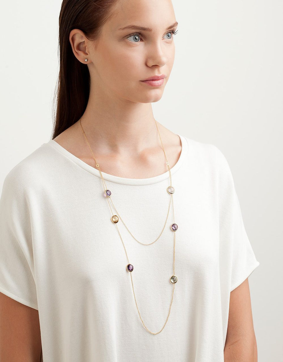 Roosik&Co - Blossom Bud Necklace- Yellow Gold and Natural Gems