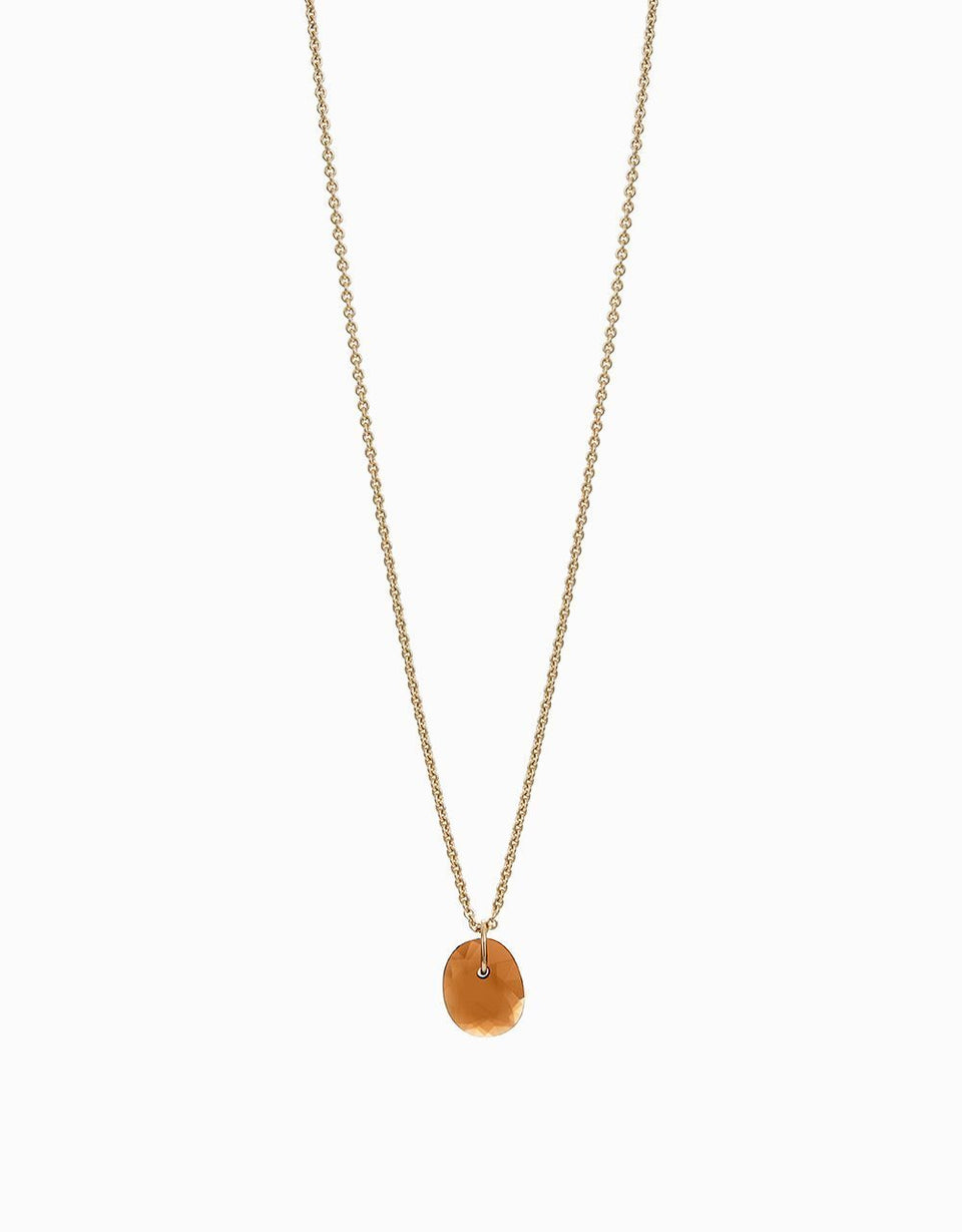 Roosik&Co - Slender Blossom Necklace - Yellow Gold and Garnet