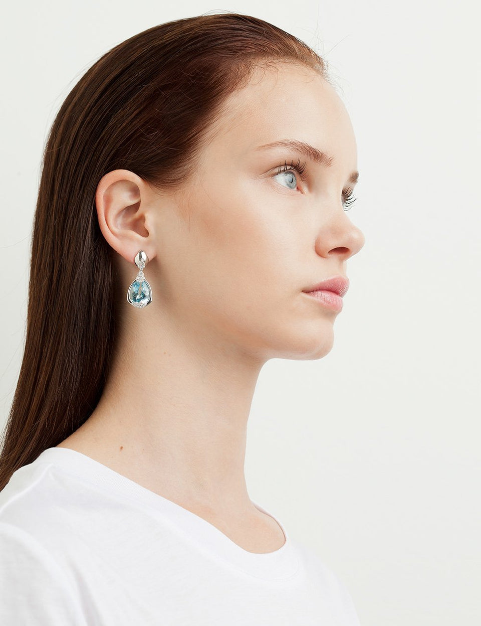 Roosik&Co - Blossom Earrings - White Gold, Topaz and Diamonds