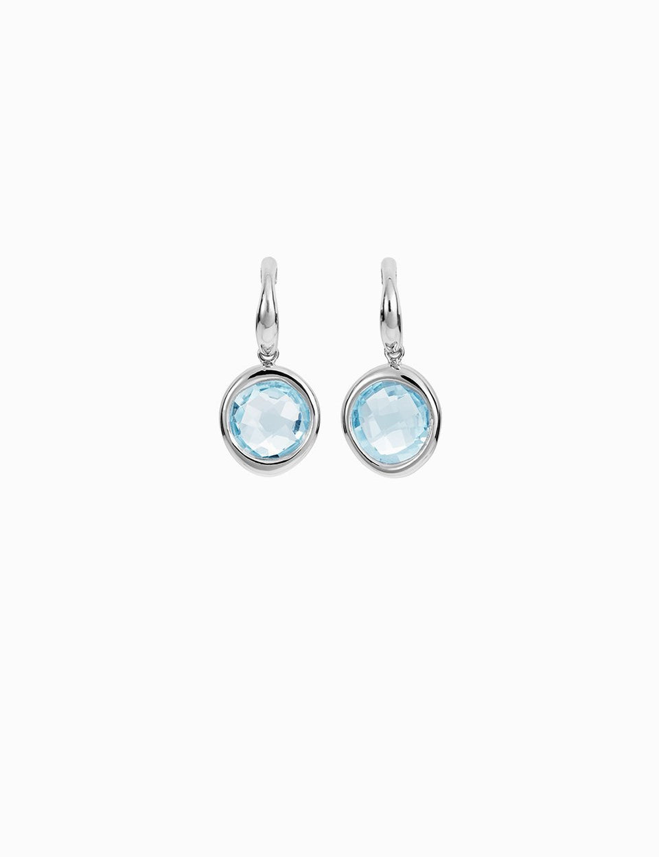 White gold earrings with two natural blue topaz handmade by Roosik & Co