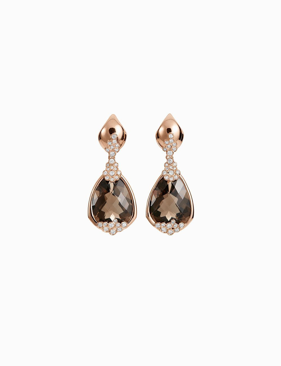 Roosik&Co - Blossom Earrings - Pink Gold, Fuming Quartz and Diamonds