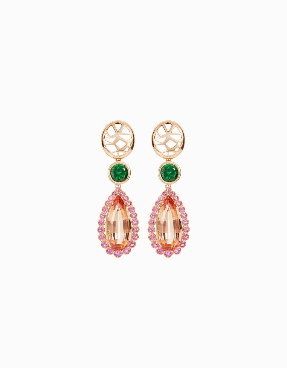 Roosik&Co -Blossom Earrings - Pink Gold with Topaz, Rose Sapphire, green Tsavorita