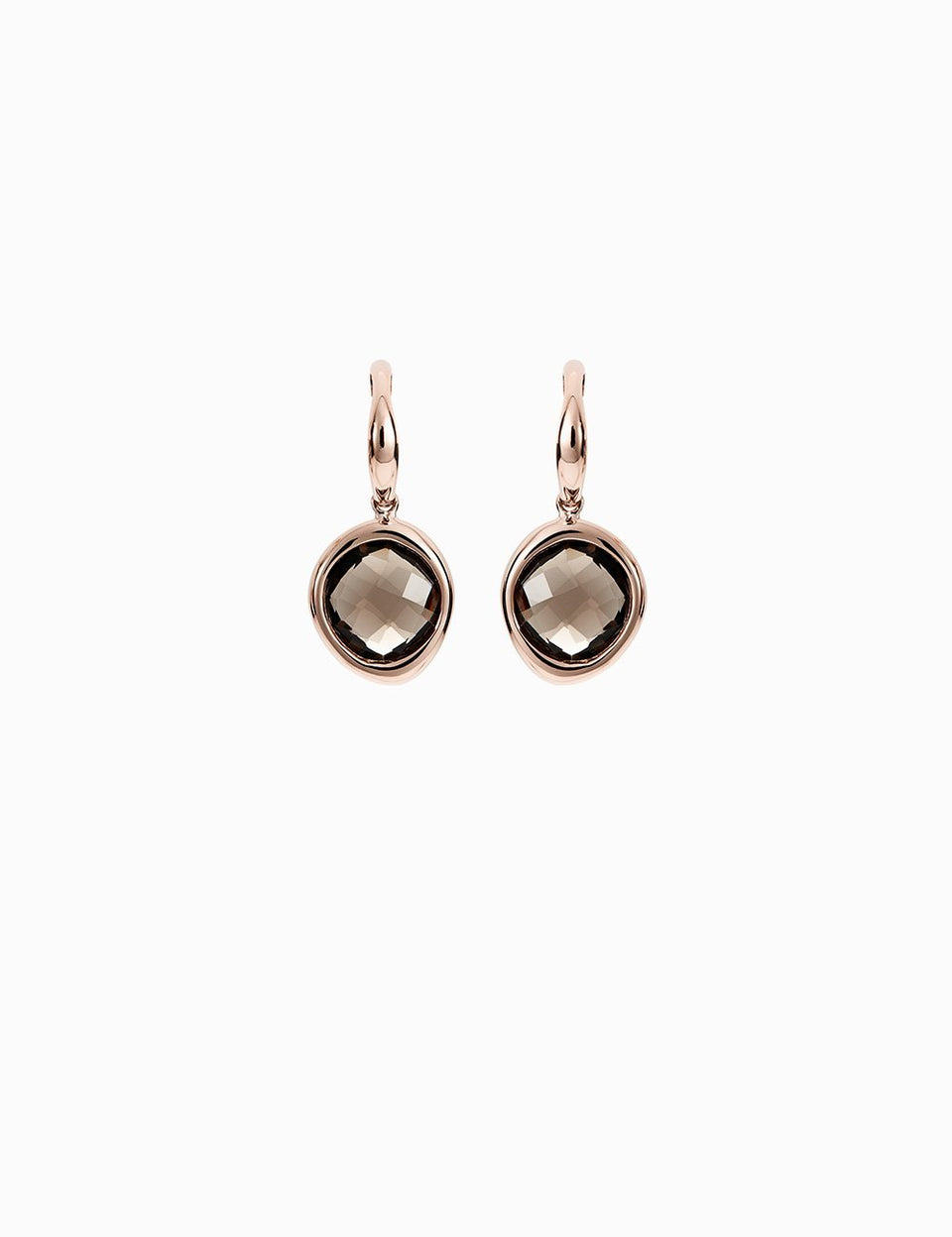 Roosik&Co - Earrings - Pink Gold and Smoky Quartz