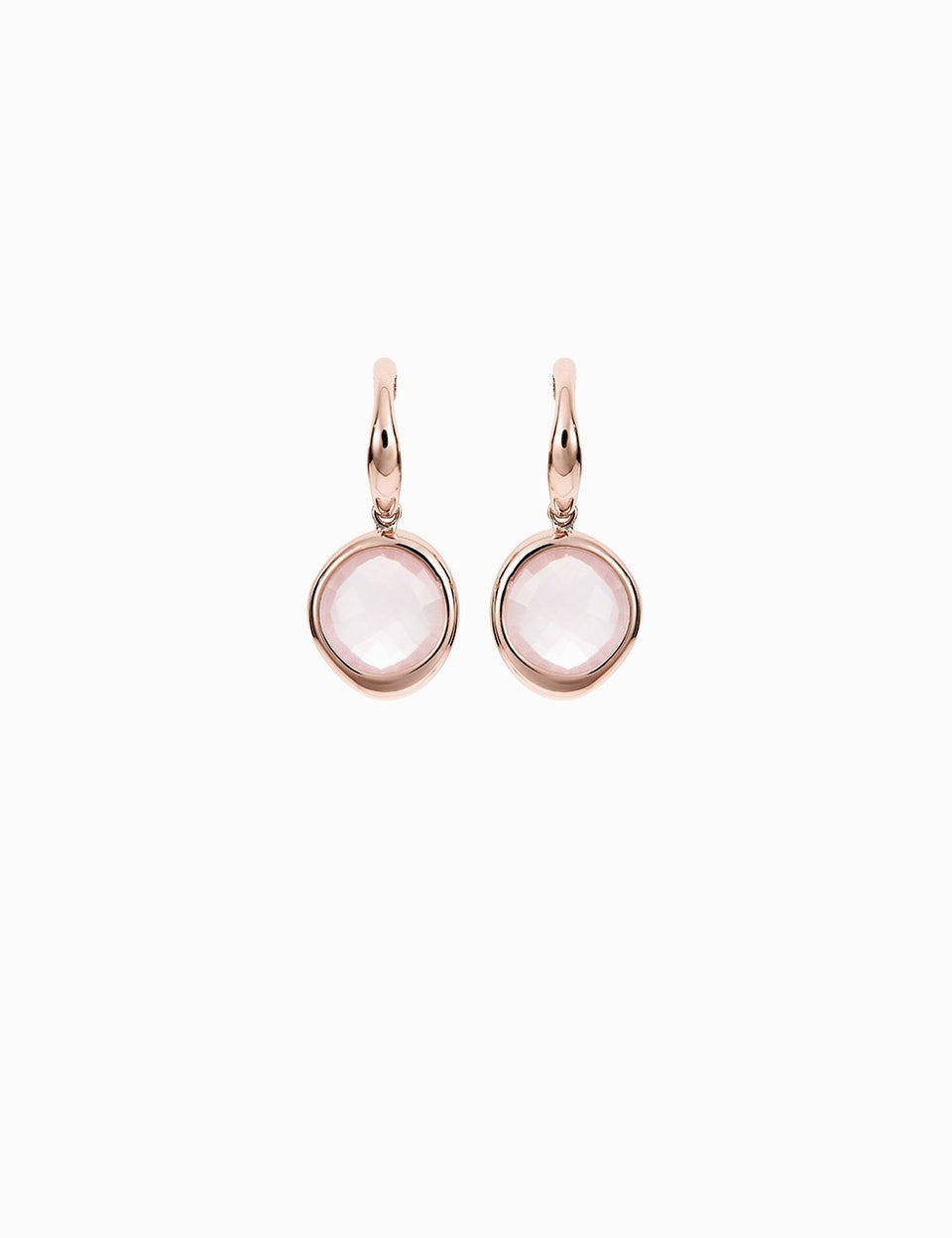 Pink Gold and Rose Quartz Earrings handmade by Roosik & Co