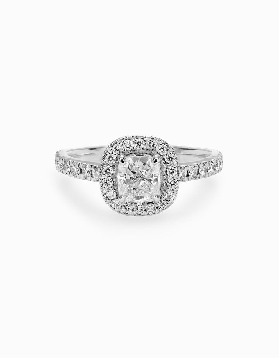 Roosik&Co - Eternal Vintage White Gold Engagement Ring with Diamonds