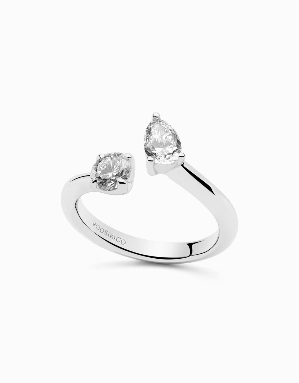 two diamond engagement ring in white gold