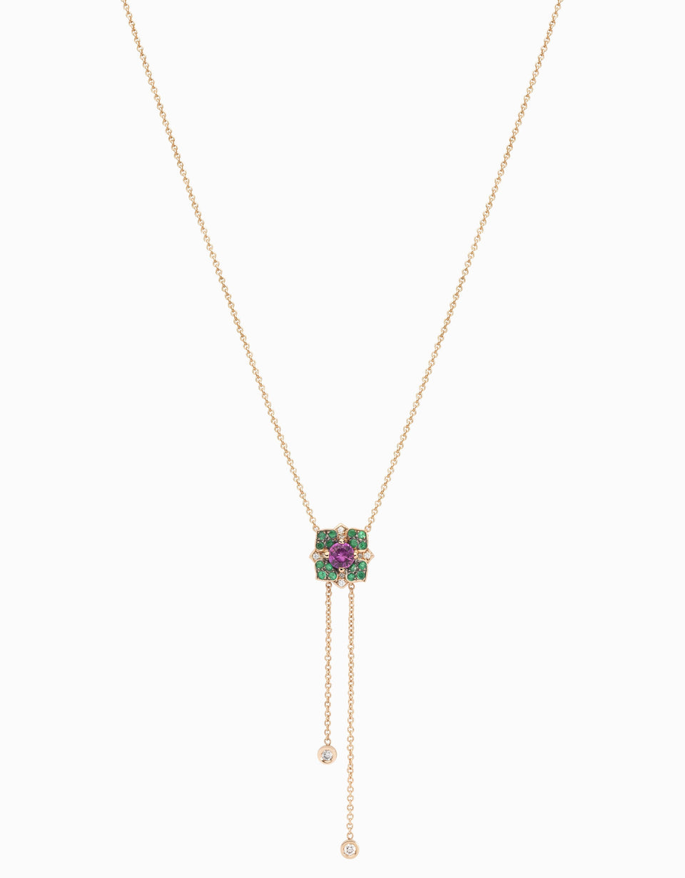 Flower necklace with pink sapphire