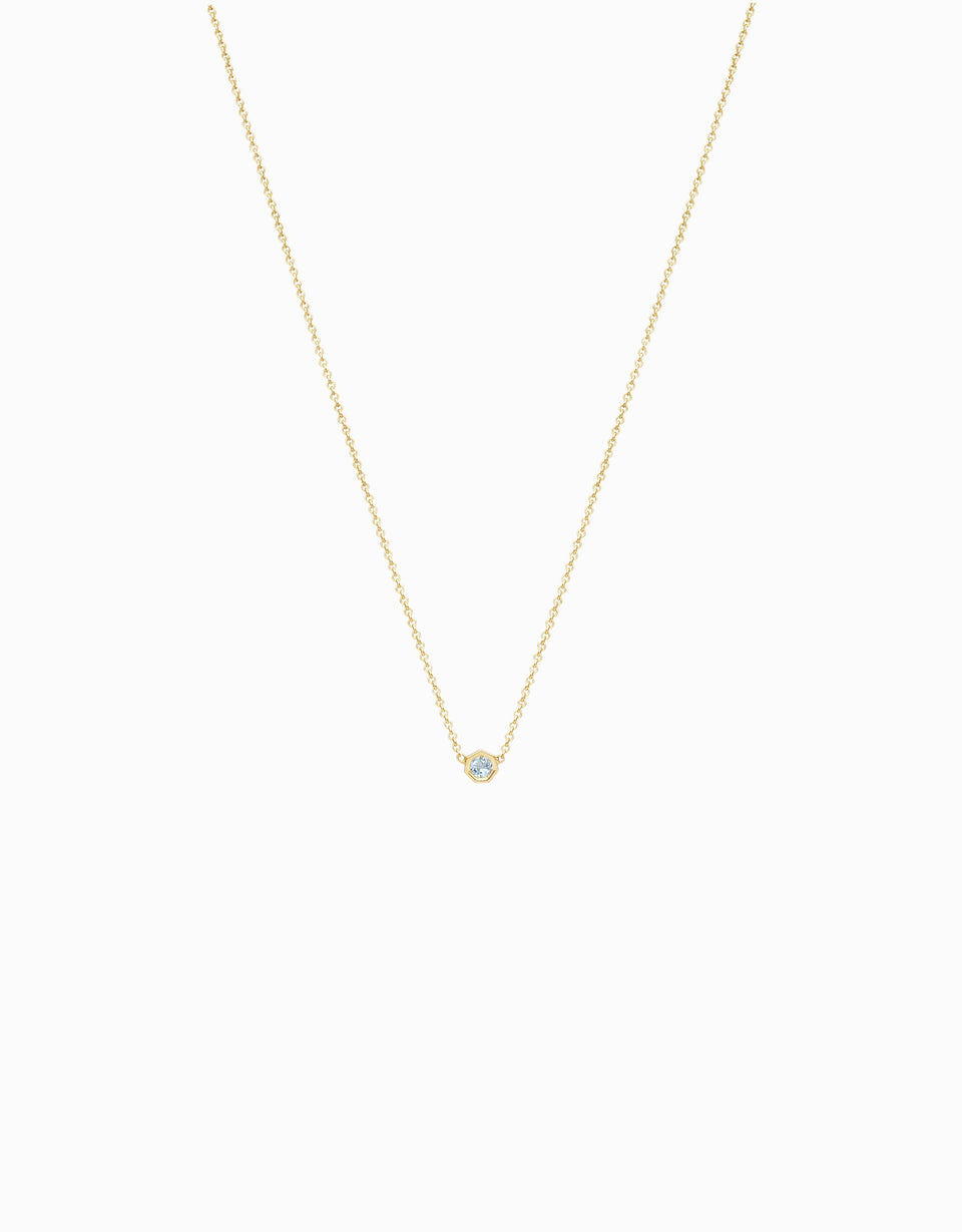 original necklace in yellow gold and aquamarine