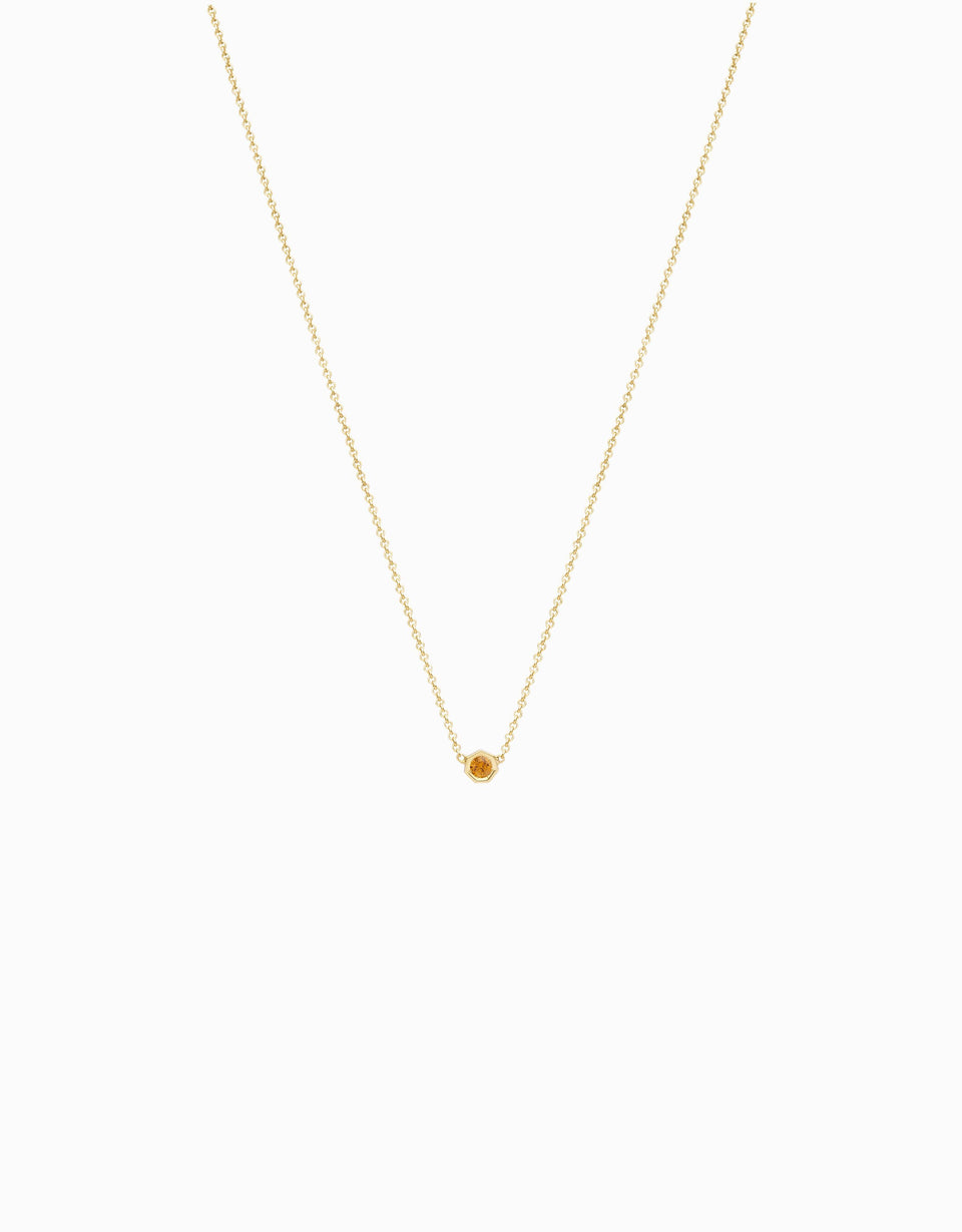 Original necklace in yellow gold and natural yellow sapphire