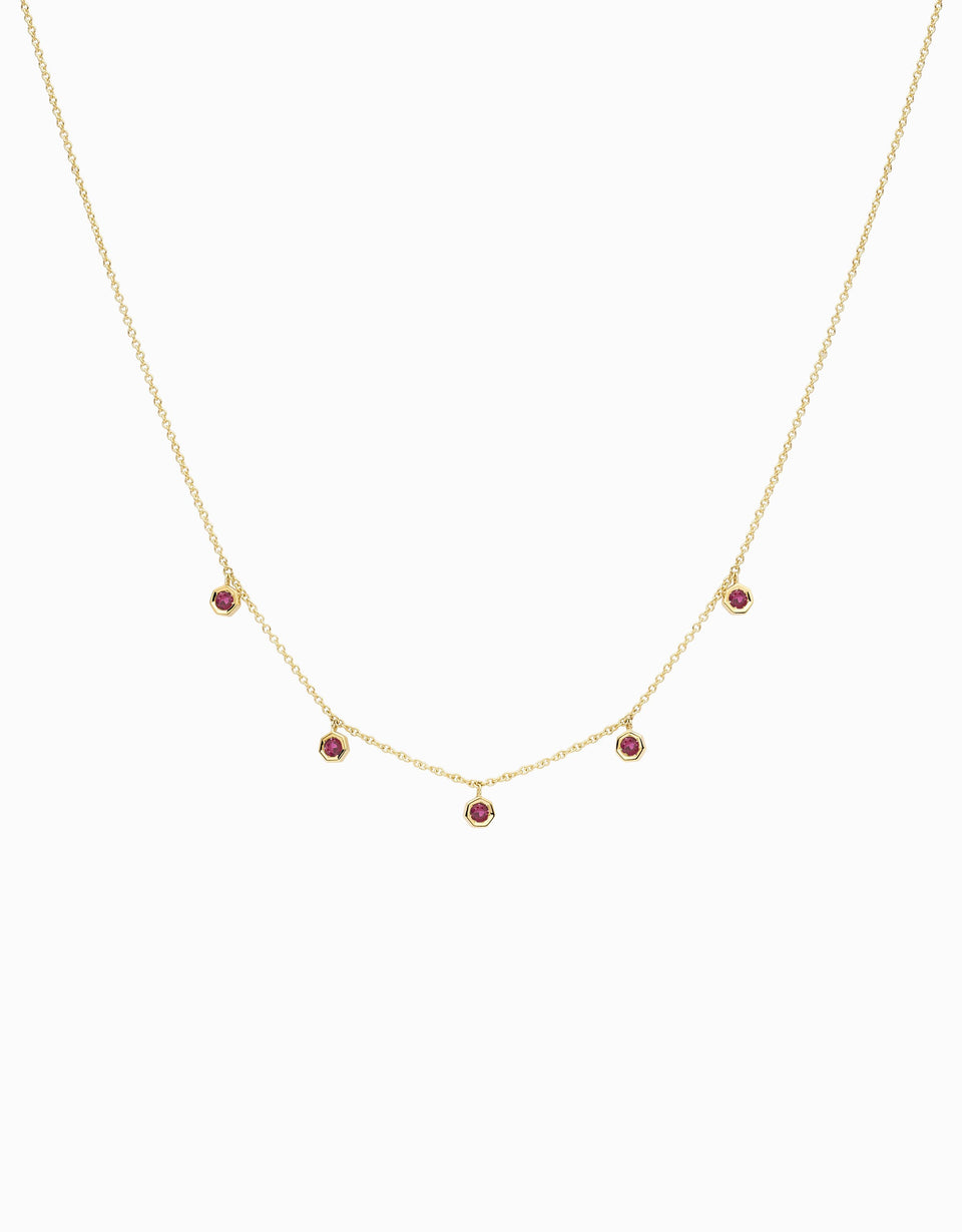 5 ruby necklace handmade by Jordi Rosich in yellow gold