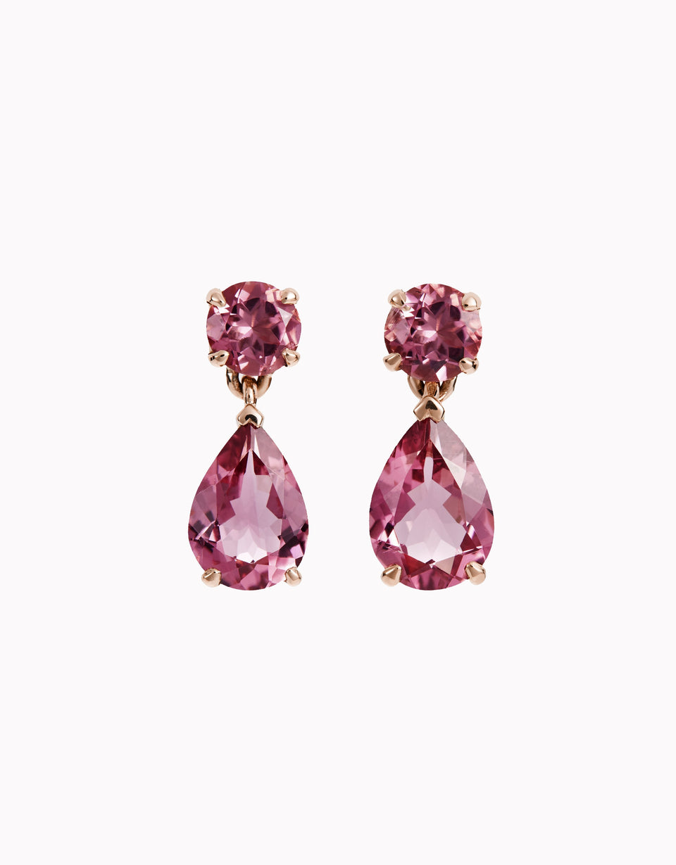 Rose gold earrings with natural pink tourmalines - Dame Slender
