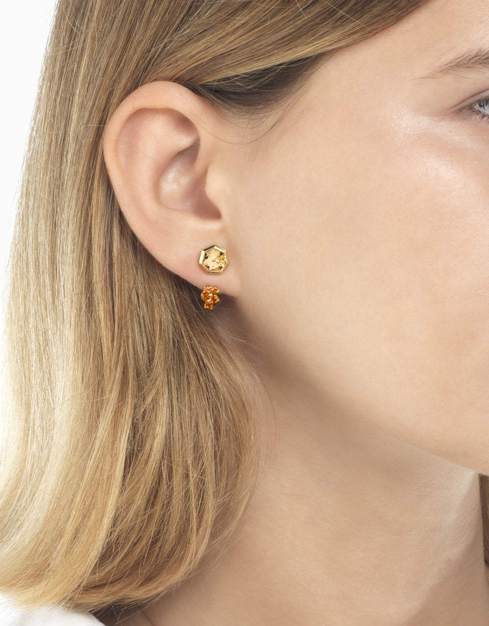Gold earrings with sapphire and heptagon citrine 2
