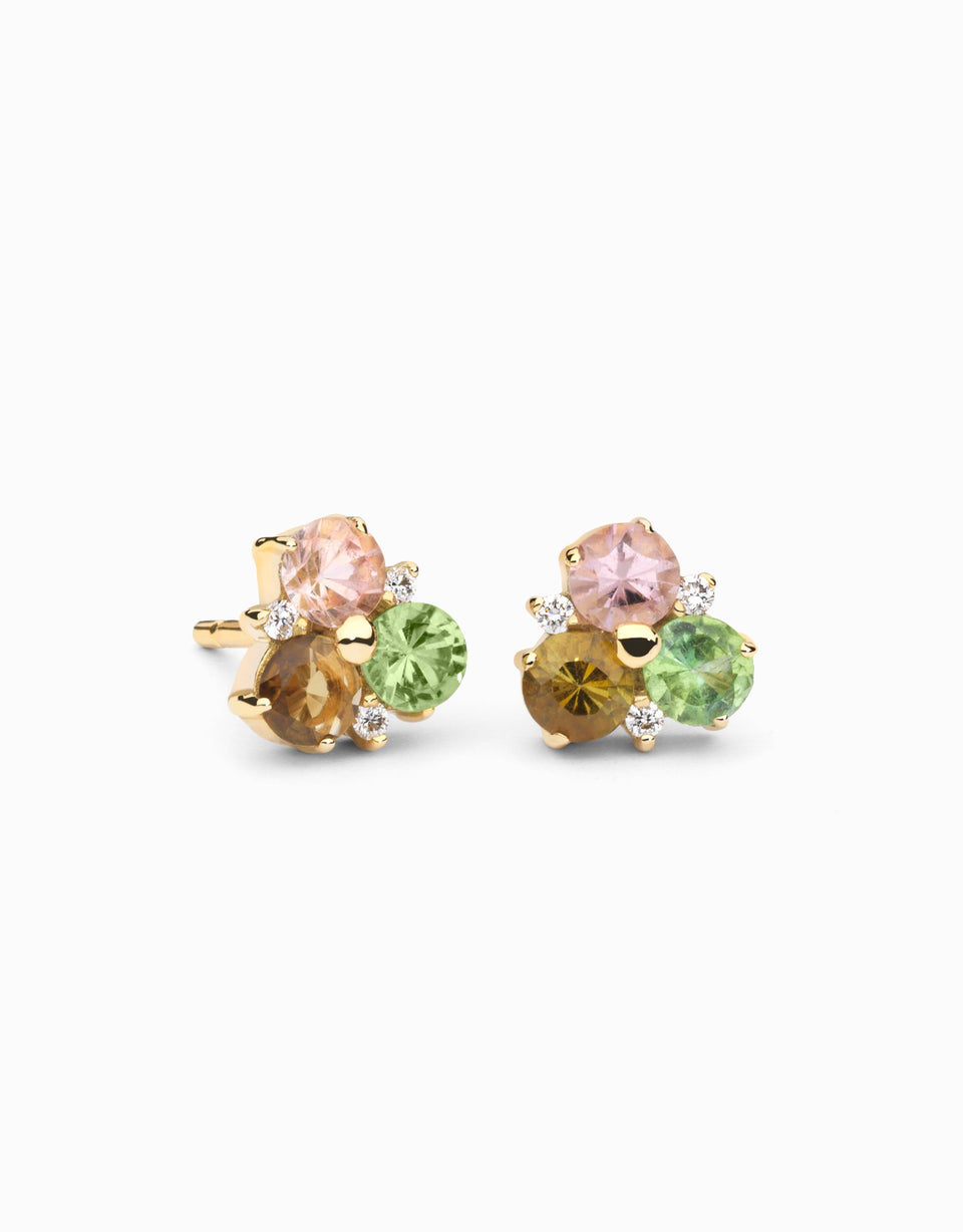 Gold earrings with tourmalines and diamonds