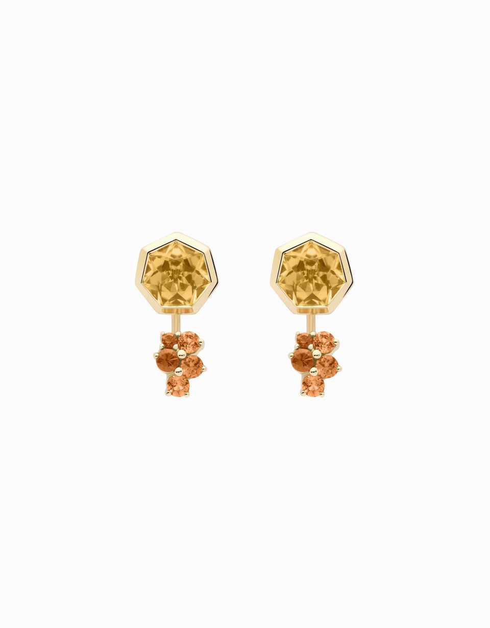 Gold earrings with sapphire and heptagon citrine