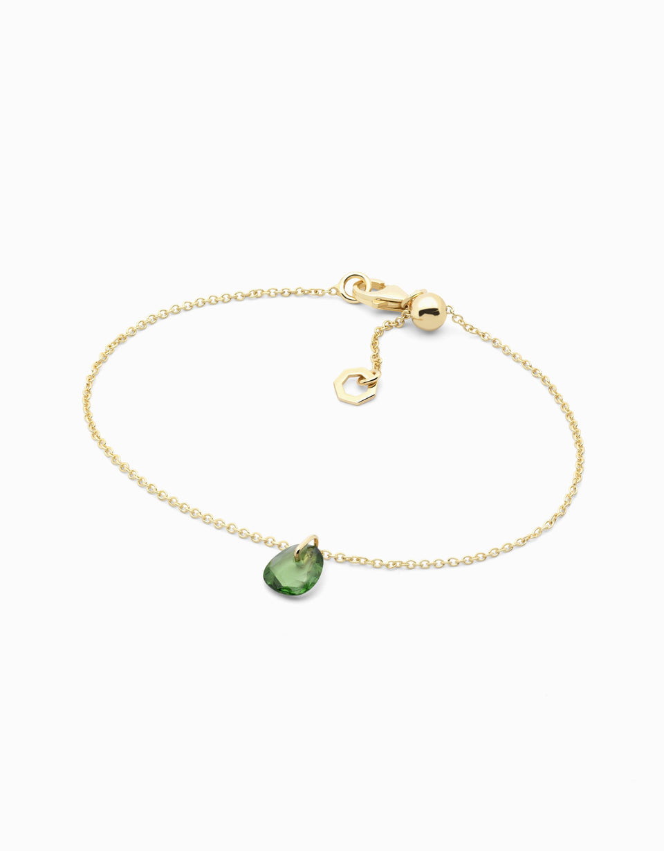 Gold bracelet with green garnet in rose cut
