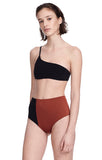 """Catalina"" Black and Sienna Bikini Top Swimsuit Side View"