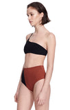 """Catalina"" Black and Sienna Bikini Top Swimsuit Side Alt"