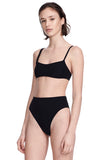 """Alton"" Black Bikini Bottom Swimsuit Front View"