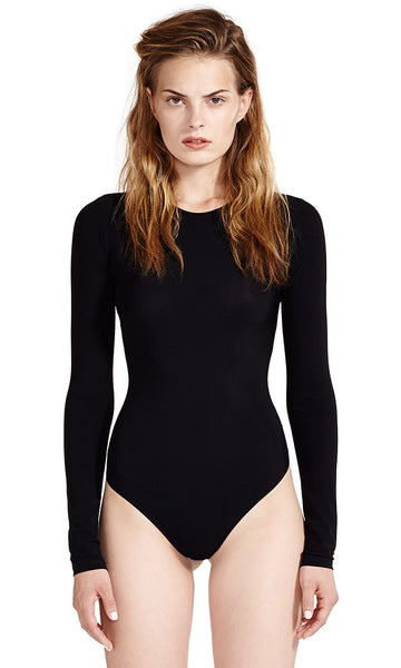 Leroy Black Bodysuit Long Sleeve Crew Neck 'Second Skin' Jersey.