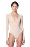 """Irving"" Nude Deep V ""Second Skin"" Jersey Long Sleeve Bodysuit Main Image"