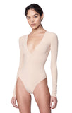 """Irving"" Nude Deep V ""Second Skin"" Jersey Long Sleeve Bodysuit Side View"