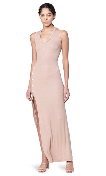 Meeker Sand Ribbed V-neck Sleeveless Button Slit Dress