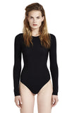 Leroy Black Bodysuit Long Sleeve Crew Neck 'Second Skin' Jersey. Full view