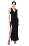 Meeker Black Ribbed V-neck Sleeveless Button Slit Dress Main
