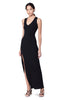 Meeker Black Ribbed V-neck Sleeveless Button Slit Dress Front View