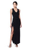 Meeker Black Ribbed V-neck Sleeveless Button Slit Dress Side View