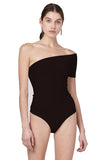 Drew Black Midweight Jersey One Shoulder Short Sleeve Bodysuit Front view