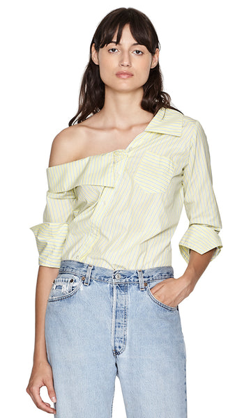 Leonard Yellow Striped Deconstructed Off-the-shoulder Buttondown Bodysuit
